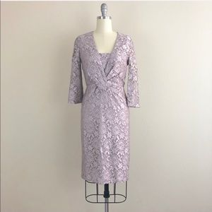Reiss Lace Pleated Lavender Dress